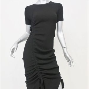 Milly Ruched Midi Dress Black Stretch Knit